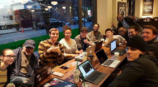 """The freeCodeCamp NYC group back in 2016. """"Before the pandemic, we had more than 2,000 study groups around the world, and we're going to build back."""""""