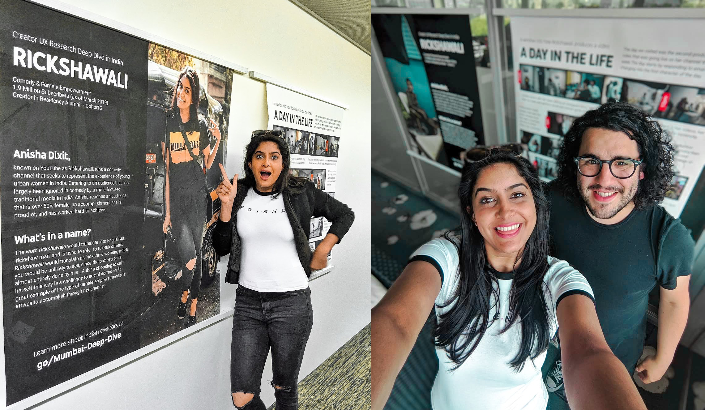 A few months after Renato's visit in Mumbai, they both met again in Zurich where Anisha loved seeing images of her production day exhibited around the local Google office.