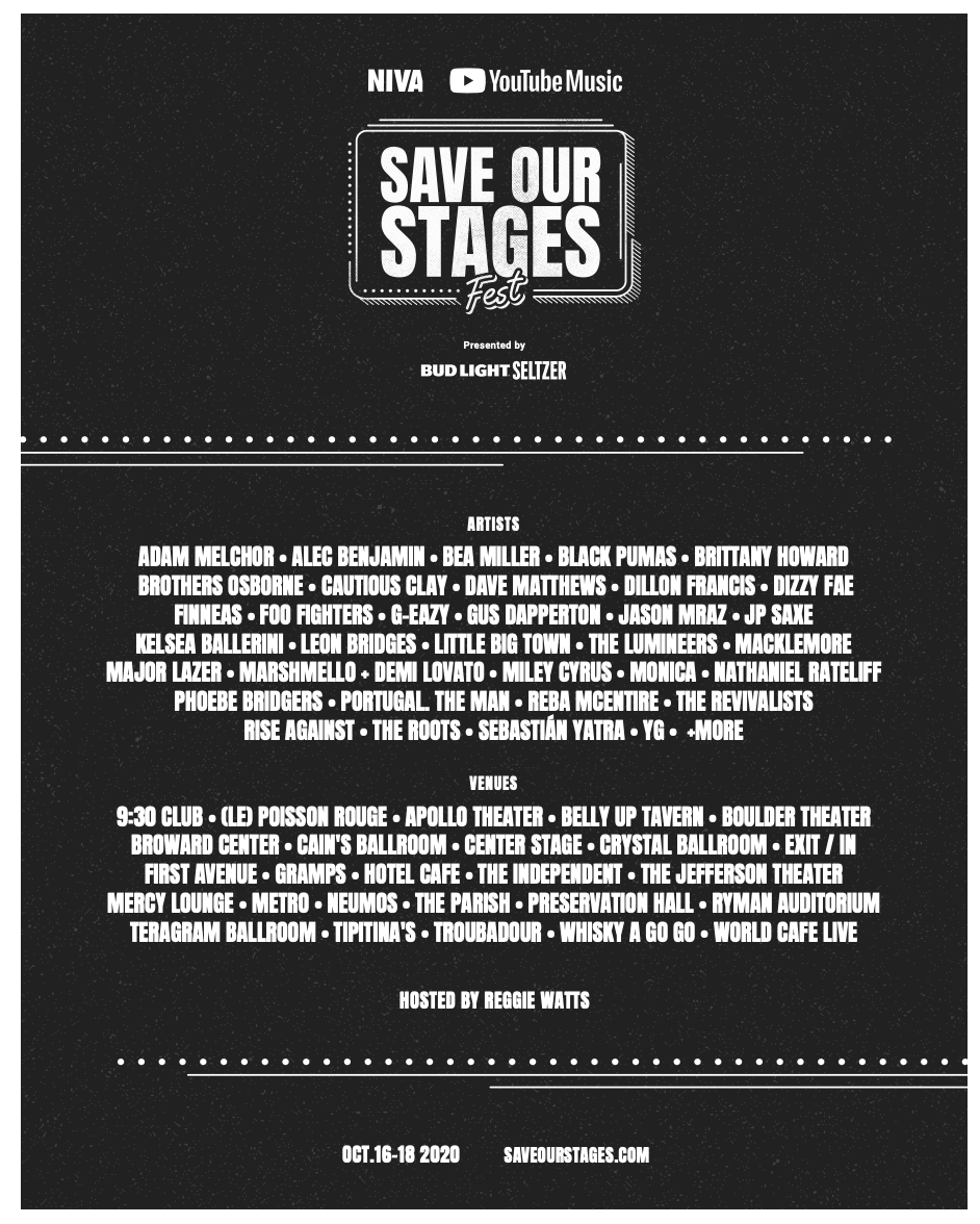 #SOSFEST, a virtual music festival to help save indie concert venues across the U.S.