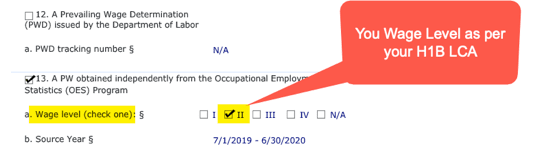 H1B LCA Wage Level Info