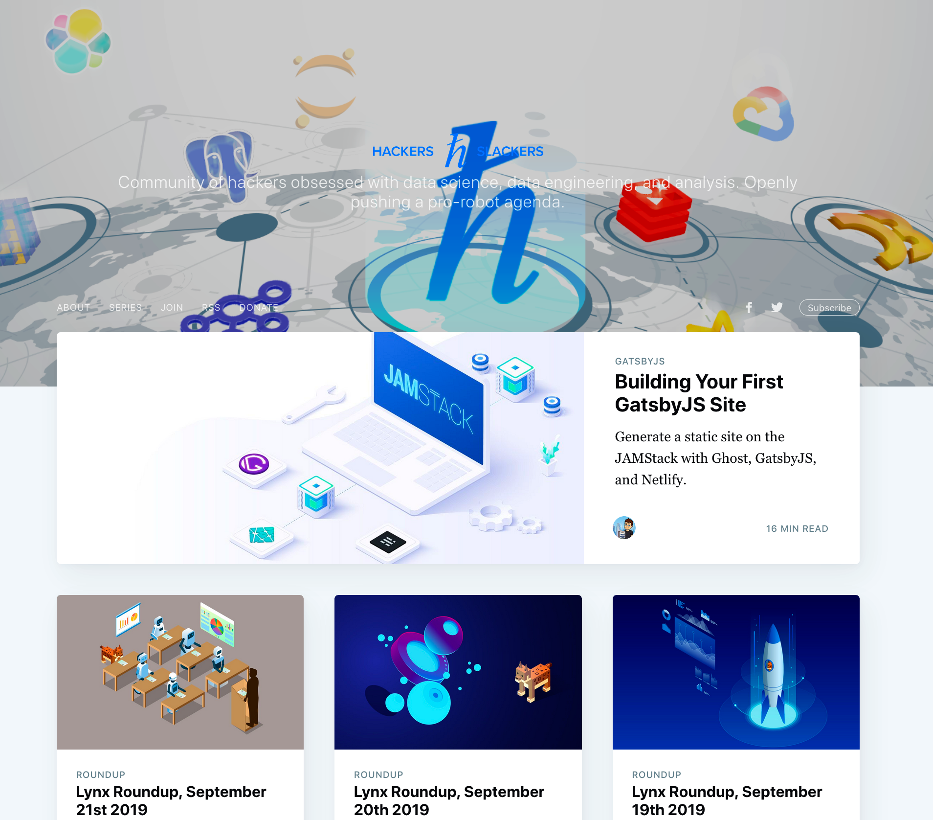 gatsby-starter-ghost site sourcing Hackers and Slackers content