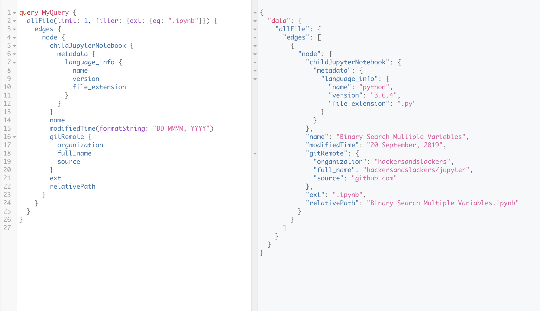 A GraphQL query pulling .ipynb files from Github