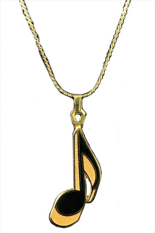 Black and Gold Eighth Note Necklace