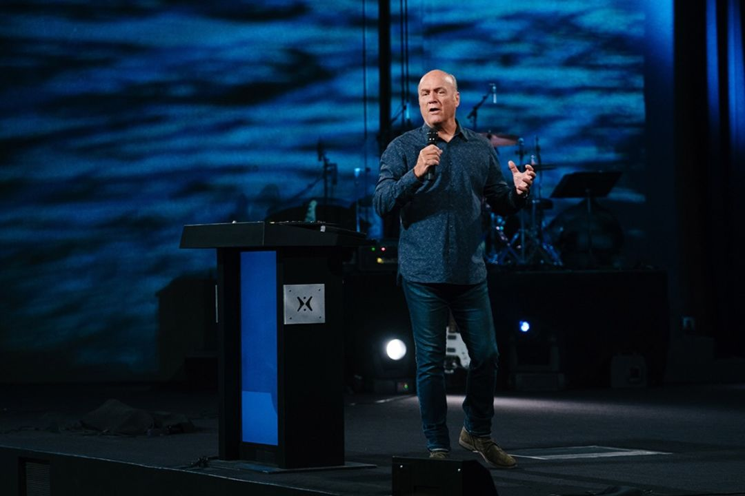 Greg Laurie preaching at Harvest