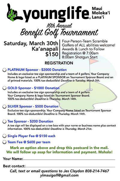 Young Life Benefit Golf Tournament