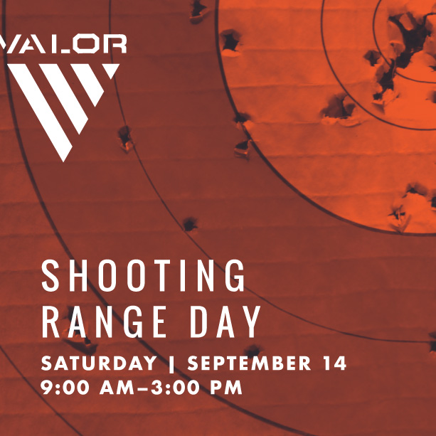 target with bullet holes with valor logo and shooting range day details harvest christian fellowship