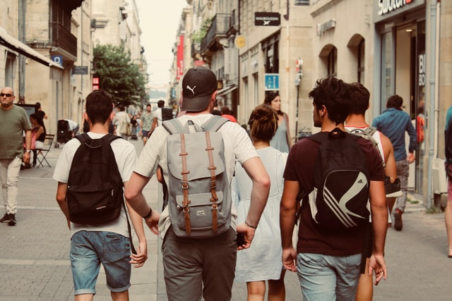 young people walking in a group