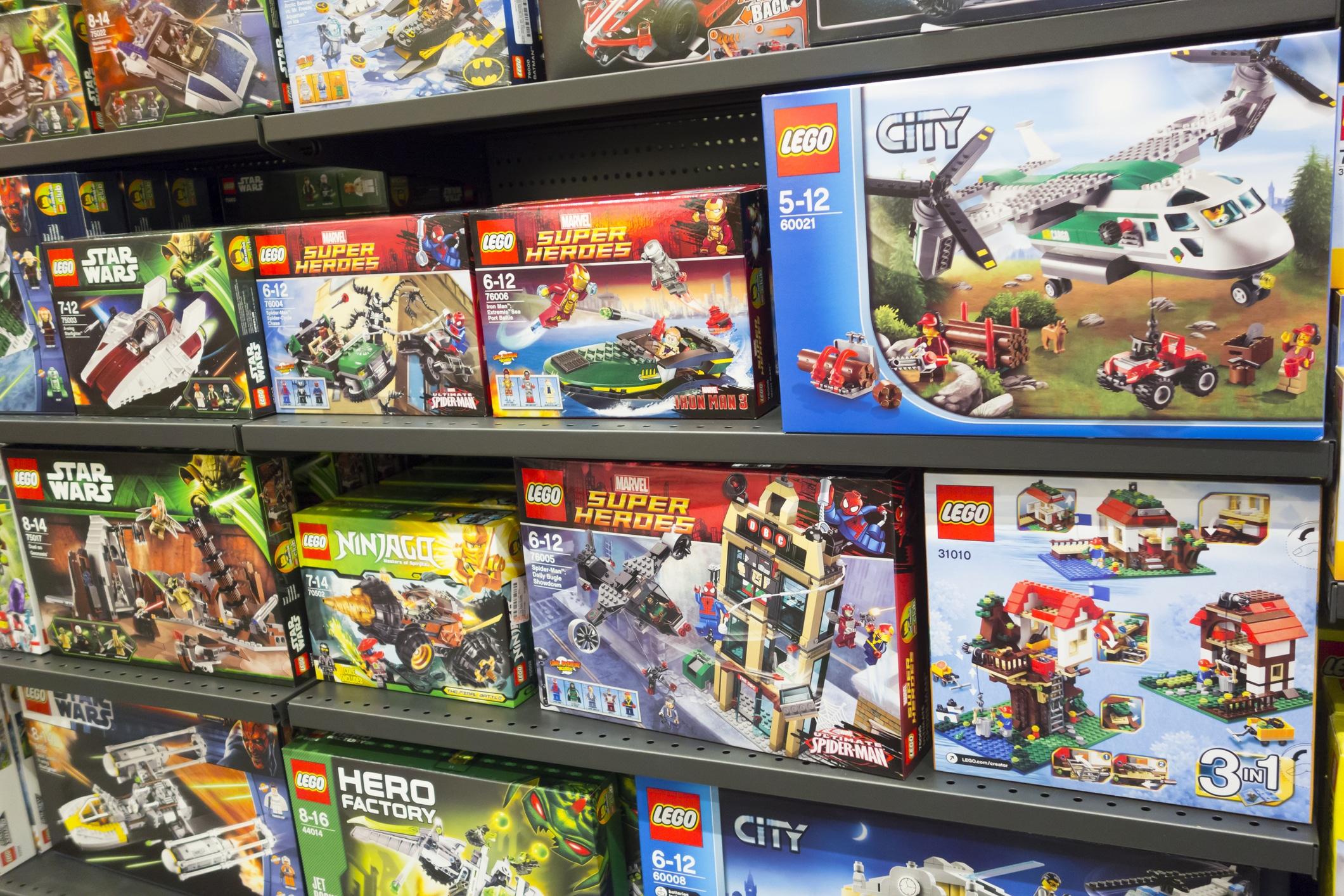 Lego boxes on shelves