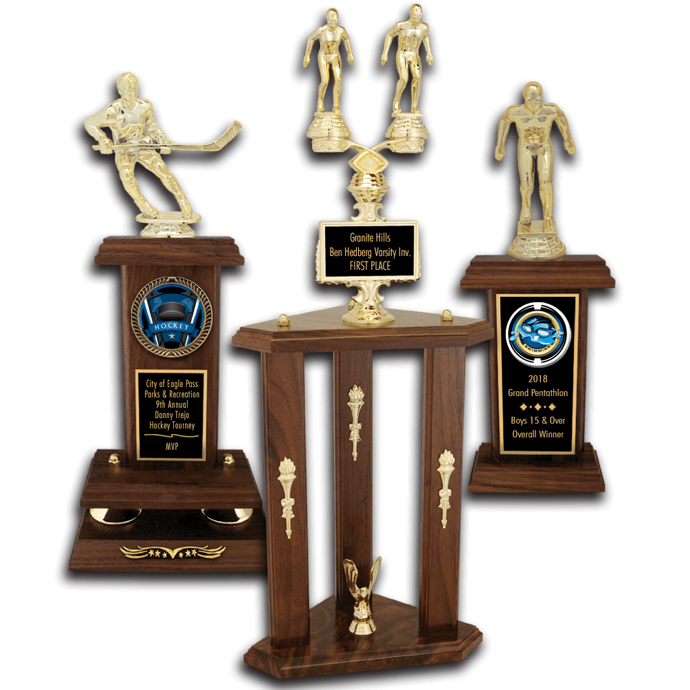 Gymnastics Solid Walnut Trophies