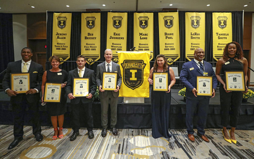 2019 University of Iowa Athletics Hall of Fame inductees Jeremy Allen (from left), Deb Brickey, Eric Juergens, Marc Long, Diane Pohl, LeRoy Smith, and Tangela Smith after the Hall of Fame Induction Ceremony at the Coralville Marriott Hotel and Conference Center in Coralville on Friday, Aug 30, 2019. (Stephen Mally/hawkeyesports.com)