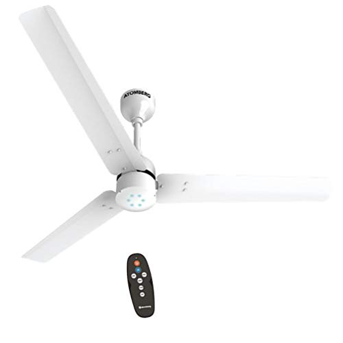 Atomberg Renesa 1200 mm BLDC Motor with Remote 3 Blade Energy Saver Ceiling Fan (Pearl White, Pack of 1)