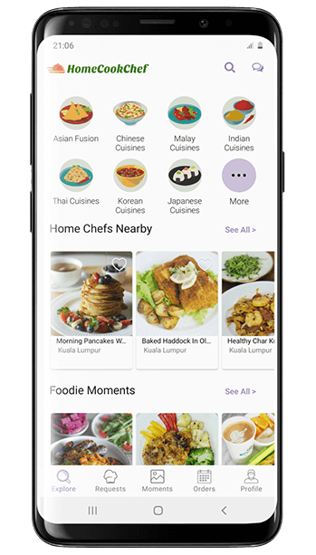 Home Cook Chef app on phone