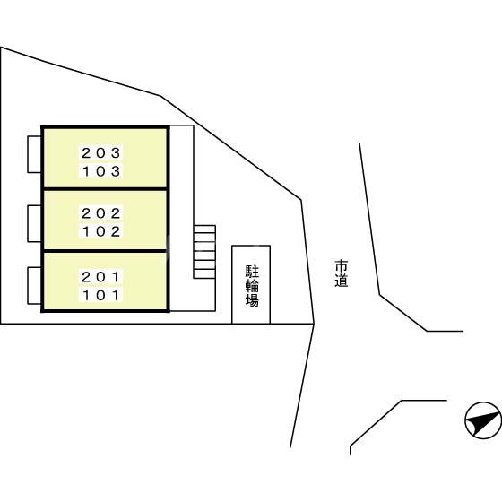 クレセントD 203号室の駐車場
