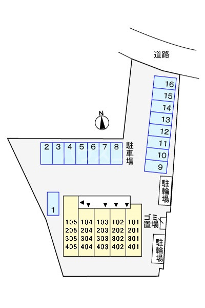 オークヴィラ 302号室の地図