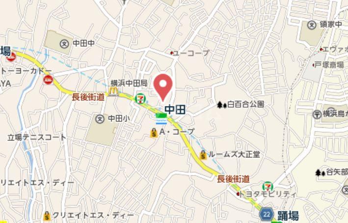 トレス中田 402号室の地図