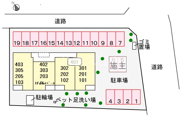 ミ・カーサⅡ 303号室の駐車場