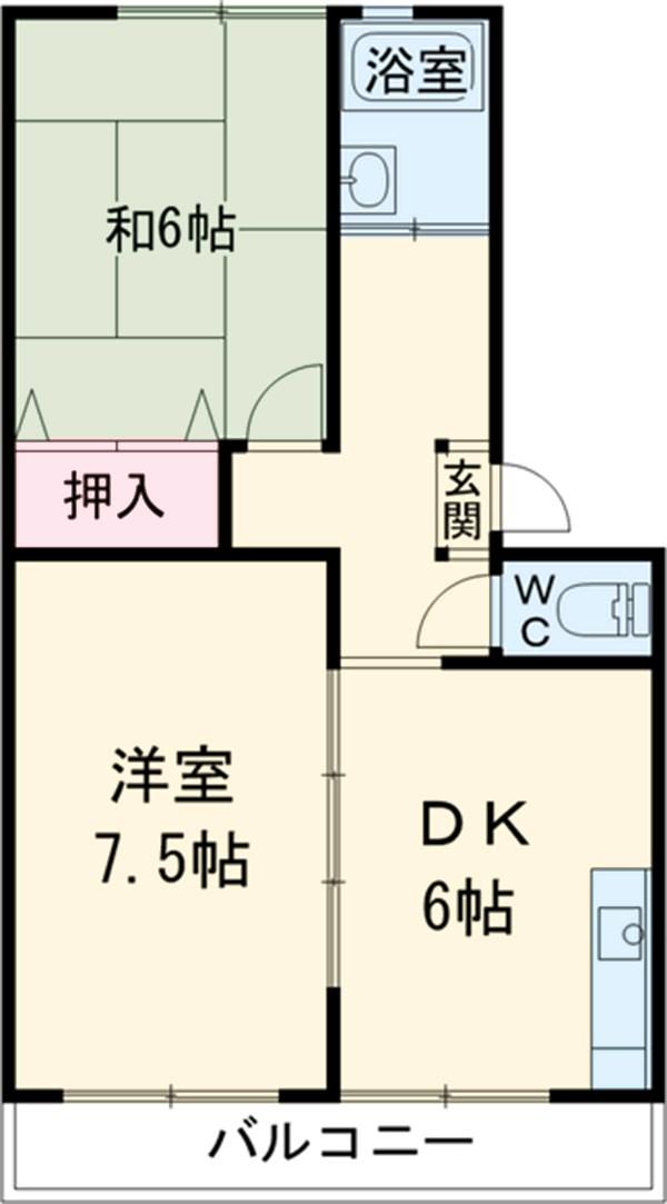 松山コーポ 206号室の間取り