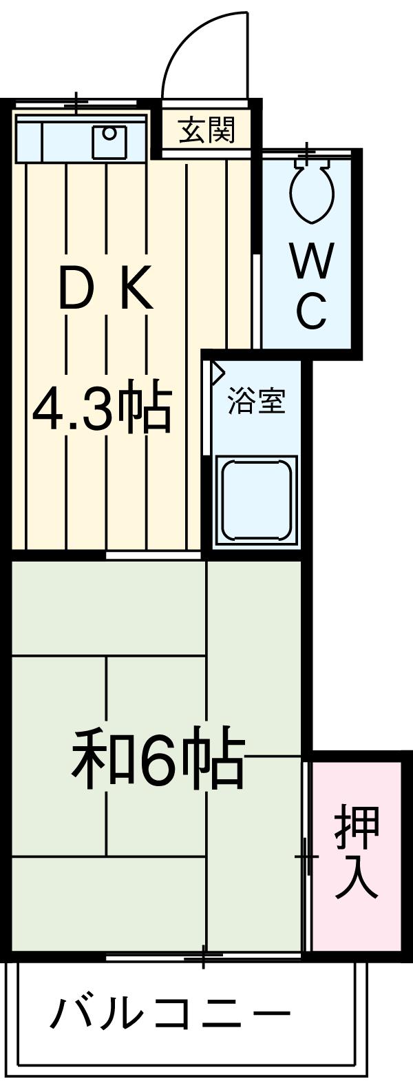 渡辺荘 28号室の間取り