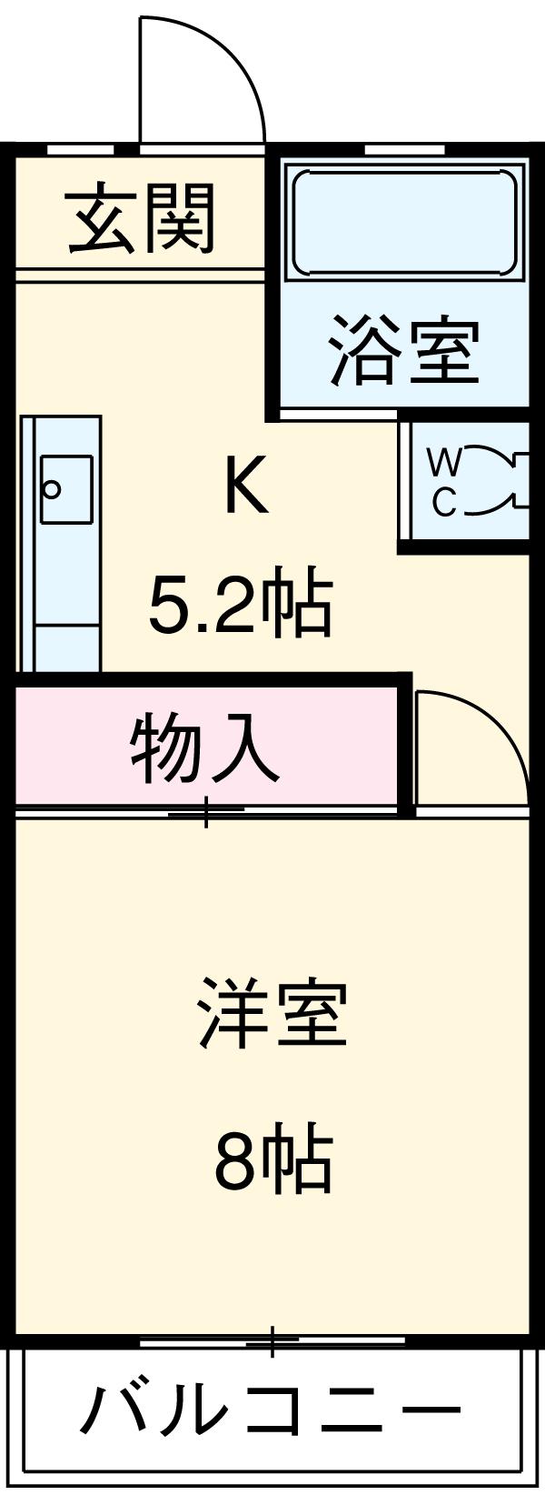 大竹コーポA棟 201号室の間取り