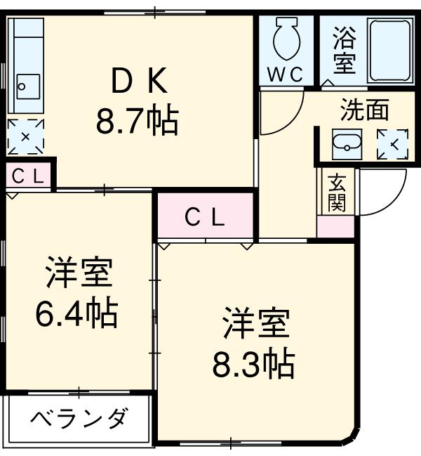 タウニー新安城B 201号室の間取り