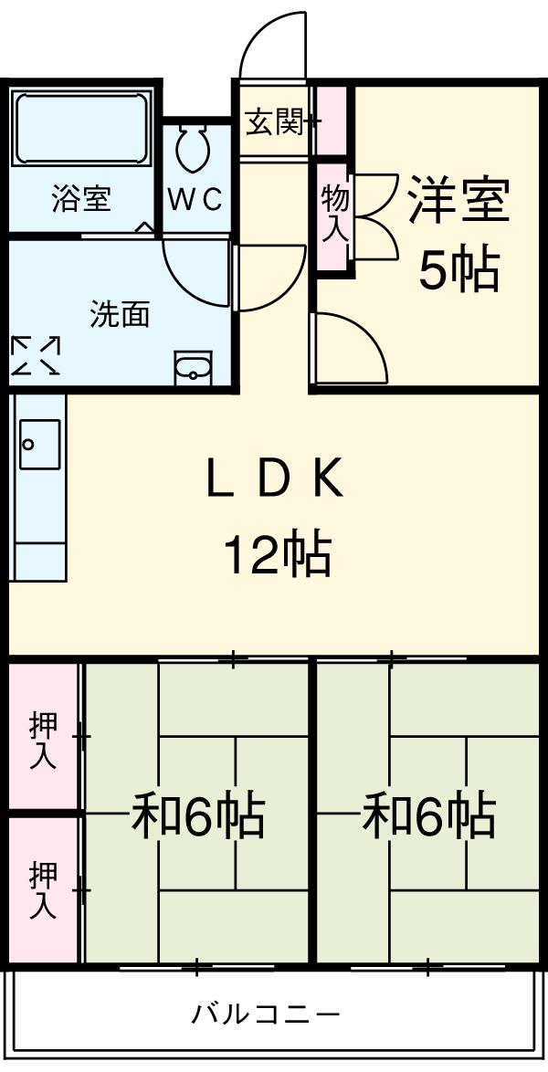 コバヤシミルクハウス 3A号室の間取り