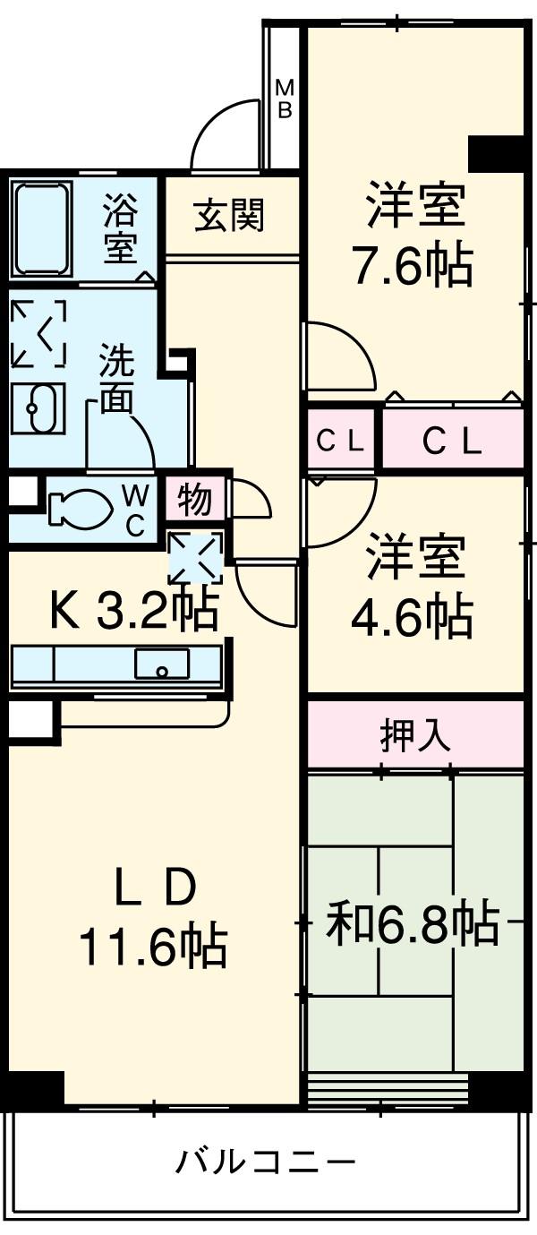 コーポレート浦和中島1号棟 401号室の間取り