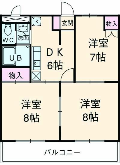 第3井上マンションC棟 106号室の間取り
