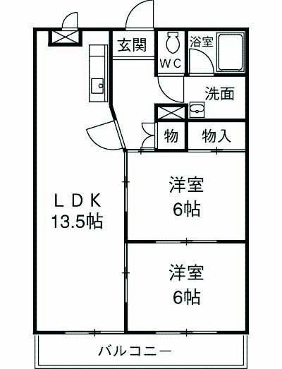 竹林マンションⅡ 106号室の間取り
