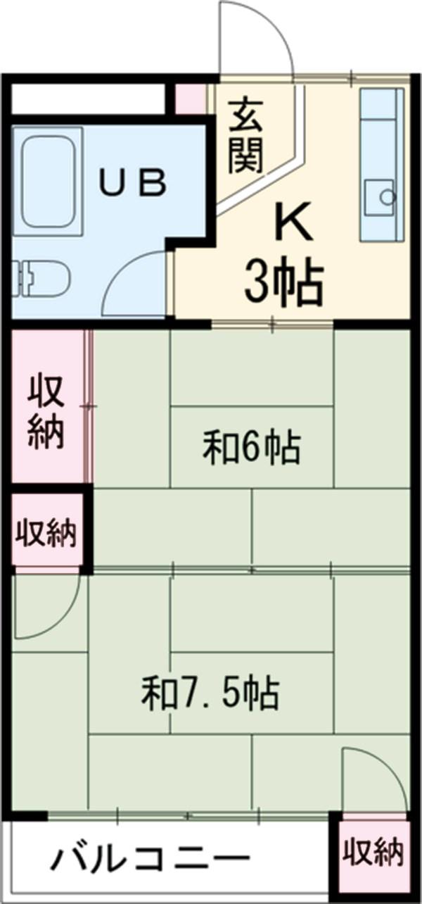 八幡山ハイツ 206号室の間取り
