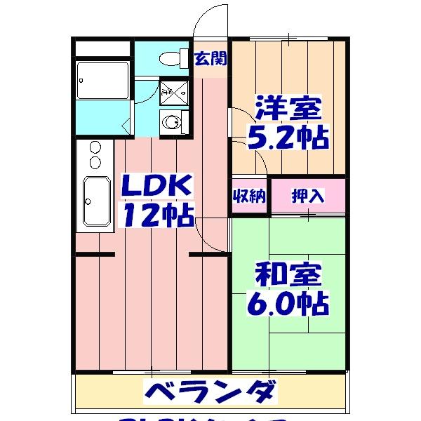 フラワーマンション 302号室の間取り