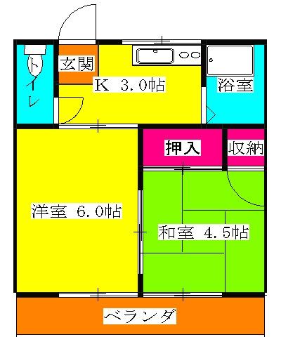 サンハウス松本B B101号室の間取り