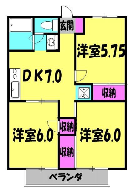 グリーンヒル新宿 202号室の間取り