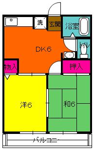 シティハイムレインボーⅡ 222号室の間取り