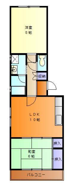 第2サンハイツ戸崎 205号室の間取り