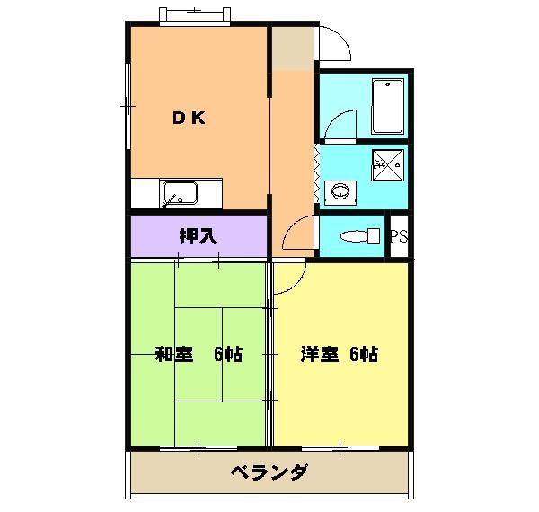 第1サンハイツ戸崎 205号室の間取り