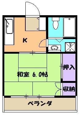 片浜ハイツ 202号室の間取り