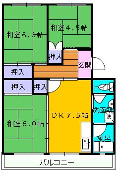 第1舘山寺コーポ 302号室の間取り