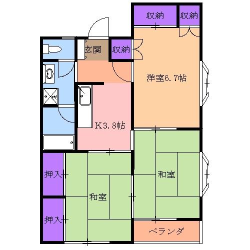 シティハイツ鶴田 106号室の間取り