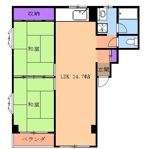 コーポ川崎Ⅲ 303号室の間取り
