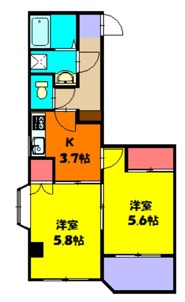 KINO HOUSE 301号室の間取り