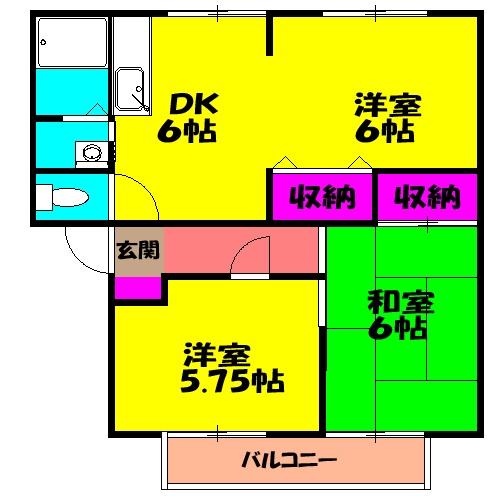 サンビレッジ青山一番館 202号室間取り図