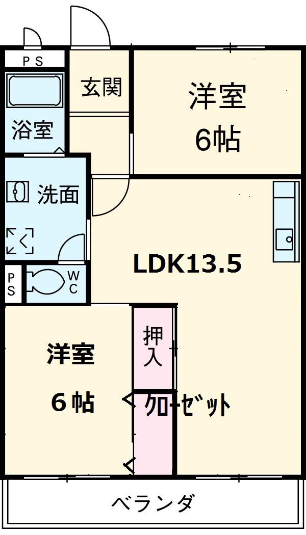 ハイム志ノ島 101号室の間取り