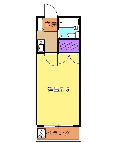 メビウスコート国立 2-B号室の間取り