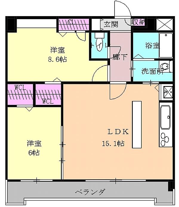 ピオーネ覚王山 203号室の間取り