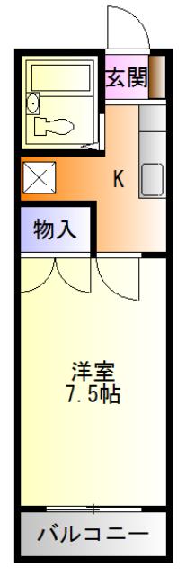 ヴェラハ菊川 202号室の間取り