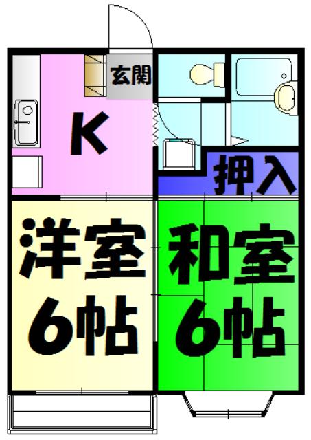 KⅢアパート 203号室の間取り