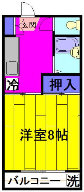 武美ハイツ 2B-2号室の間取り