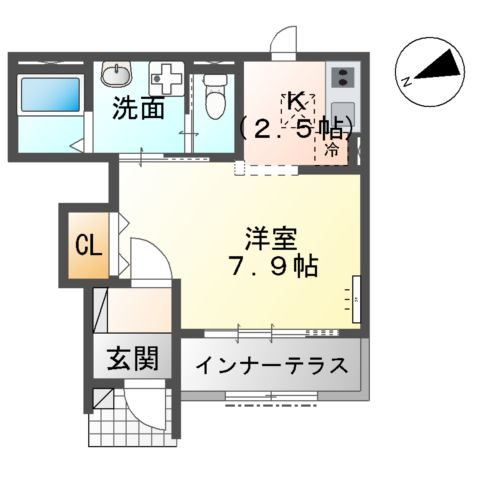 新作新築アパート 102号室の間取り