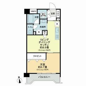 ライオンズマンション五反野 206号室の間取り