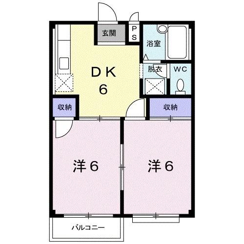 エルディム川島B 02020号室の間取り